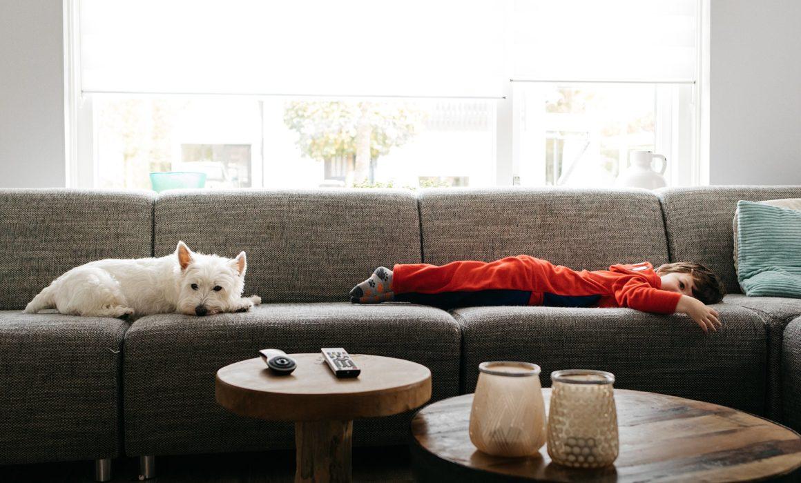 hond en peuter liggen op de bank