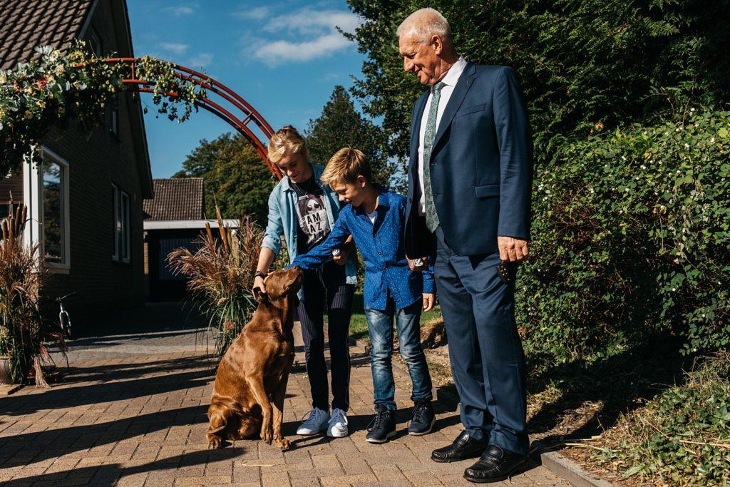 kinderen aaien hond